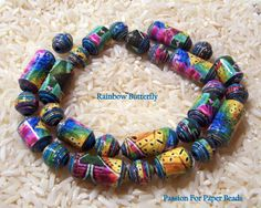 Paper BeadsRainbow Butterfly   by PassionForPaperBeads on Etsy