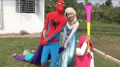 Baby Masha Trumpet Colors Pranks Joker to FAINT & DRAG by Spiderman and ...