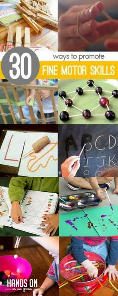 30 fine motor materials and activities for toddlers and preschoolers to work on fine motor skills. Fine Motor Activities For Kids, Motor Skills Activities, Outdoor Activities For Kids, Gross Motor Skills, Sensory Activities, Learning Activities, Preschool Activities, Sensory Play, Physical Activities