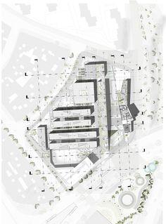 MegaColegio Jardín Educativo Ana Díaz, equipamiento educacional a escala urbana en Medellín,Planta cubiertas Site Plans, School Design, Urban Design, Design Projects, Architecture Design, Presentation, Floor Plans, Layout, How To Plan