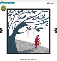 the woman and the tree, calendar, Marcella Peluffo illustration