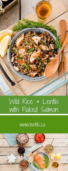 Wild Rice & Lentils with Flaked Salmon | Recipe lentils.ca