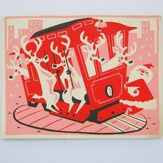 Vintage Christmas Card Santa Reindeer Trolley Pink