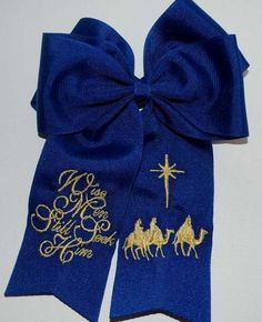 Embroidered Christmas Wise Men Hair Bow by thesouthernbaby on Etsy, $10.99