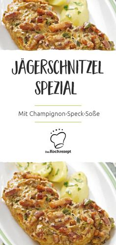 Jägerschnitzel spezial mit Champignon-Speck-Soße Schnitzel – one of the Germans favorite food. Also not to be despised as a hunter's schnitzel! Of course you should not miss a creamy mushroom and bacon sauce. Hamburger Meat Recipes, Sausage Recipes, Cooking Recipes, Healthy Eating Tips, Healthy Nutrition, Healthy Snacks, Bacon, Jaeger Schnitzel, Cheeseburger Soup