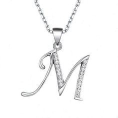 Alphabet Letters A-Z Pendants 100% Real Pure 925 Sterling Silver Letters Pendant Fit Necklace Fashion Cubic Zirconia Jewelry