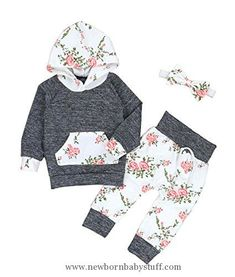 Baby Girl Clothes Christmas Baby Girls Florals Outfit Set Long Sleeve Hoodie Sweatshirt with Headbands