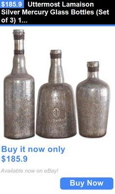 Home Decor: Uttermost Lamaison Silver Mercury Glass Bottles (Set Of 3) 19753 New BUY IT NOW ONLY: $185.9