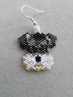 Schnauzer Earrings in delica seed beads by DsBeadedCrochetedEtc