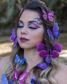 Glam Makeup, Eyeshadow Makeup, Makeup Art, Beauty Makeup, Butterfly Face Paint, Butterfly Makeup, Fairy Makeup, Mermaid Makeup, Fairy Fantasy Makeup
