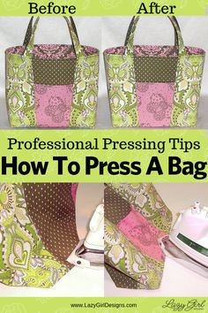 Give your next fabric bag creation a professional finish with these easy pressing tips. Quick and easy pressing tutorial. You don't need any specialty tools, but use them if you have them. Take your bag from slouching to having great stand-up-i-tude! #SewingTutorial Easy Sewing Projects, Sewing Projects For Beginners, Sewing Hacks, Sewing Tutorials, Sewing Tips, Diy Projects, Fabric Bags, Fabric Scraps, Fabric Dolls