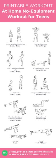 Pinner says: At Home No-Equipment Workout for Teens: my visual workout created at WorkoutLabs.com • Click through to customize and download as a FREE PDF! #customworkout Could be used in PE or for brain breaks