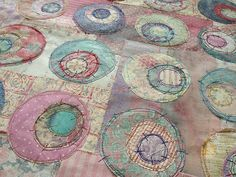 jillyspoon., Concentric Applique Quilts, Embroidery Applique, Machine Applique, Machine Embroidery, Eclectic Fabric, Circle Quilts, Mini Quilts, Homemade Quilts, Japanese Quilts