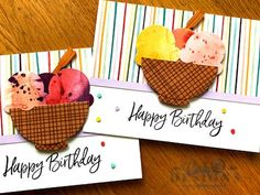 Ice Cream Set, Ice Cream Bowl, Fun Fold Cards, Cool Cards, Stamping Up Cards, Handmade Birthday Cards, Homemade Cards, Making Ideas, Card Making