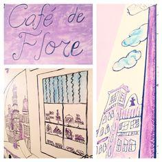Cafe de Flore, Paris, wall mural