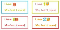 "Here's an ""I have, who has?"" activity for skip counting by 5s."