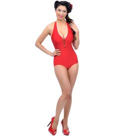 #PinUp Swimsuit  #4thofJuly #uniquevintage  Esther Williams Vintage 1950s Style Pin Up RED & Gold Button Halter Swimsuit