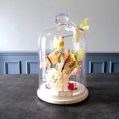 DIY cloche verre papillons printemps / réaliser une cloche avec des papillons en papier / Spring DIY