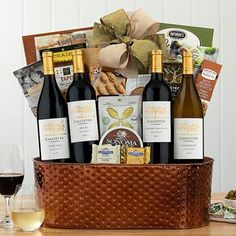 Wine Gift Baskets - Executive Selection Wine Gift Basket Wine Gift Baskets, Pinot Noir, Wine Gifts, Gourmet Recipes, Yummy Treats, The Selection, Food, Wine Baskets, Essen