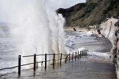 Meadfoot Beach Torquay in recent storms