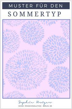 Muster für den Sommertypen enthalten größtenteils kühle Farben und wirken leicht, luftig und aufgelockert.