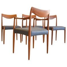 Rare 'Bambi' Sculpted Dining Chairs by Rolf Rastad and Adolf Relling Teak Dining Chairs, Side Chairs, Antique Furniture, Modern Furniture, Kitchen Nook, Seat Covers, Bambi, Furniture Making, Small Spaces