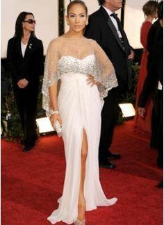 Jennifer Lopez Style Sexy White Chiffon Spiltting Sweep Low Cut Dress With See