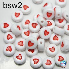 White Round Acrylic Beads With Red Heart feeling of heart Alphabet Beads, Letter Beads, Number Beads, Fashion Beads, Plastic Beads, Acrylic Beads, Beaded Jewelry, This Is Us, Jewelry Making