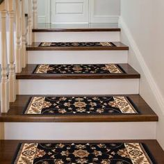 Astoria Grand Ryley Stair Tread Color: Black with Ivory Border Stair Tread Rugs, Carpet Stair Treads, Carpet Stairs, Stair Railing, Railings, Wooden Staircases, Stairways, Foyers, Black Stairs