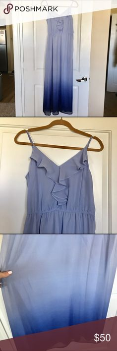 Blue Ombré Maxi Blue Ombré Maxi with spaghetti straps and a flutter neckline. Straps are adjustable and the waist is elastic. NWOT - never worn or altered! From a pet and smoke free home. LC Lauren Conrad Dresses