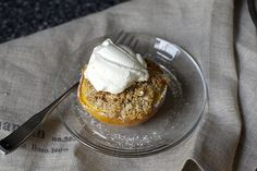 almond crisped peach + whipped cream, even better if you use brown sugar instead of white sugar