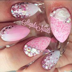 """#almondnails#pink#white#chunkyglitter#glitterombre#custommix#love#lace#stampingplates#diamonds#squarecrystal#love#flowers#girly#pearls#love#stephsnails#barbienails"""