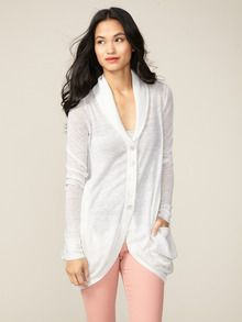 Draped Linen Cardigan by Inhabit at Gilt