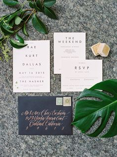 minimalist wedding invitations - photo by Sarah Kate Photographer http://ruffledblog.com/modern-minimalist-dallas-wedding