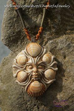 PRIVATE-Medusa of the Sea Pendant-seashells female energy golden magic ocean themed sandy shore goddess jewelry mermaid secret   by ChaNoJaJewelry on Etsy