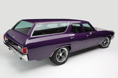 """Jeff Lilly Restoration - 1971 Chevelle Wagon, The ultimate family """"sleeper"""" with a 502 fuel injected big block, 6 speed trans and 3 inch exhaust she'll take the family for ice cream with serious acceleration! Flying Purple People Seater by kerri_posts Chevrolet Chevelle, 1971 Chevelle, Chevrolet Auto, Us Cars, Sport Cars, Shooting Break, Station Wagon Cars, Automobile, Sports Wagon"""