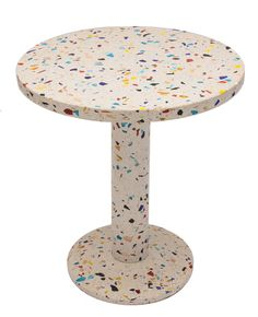 Table 'Kyoto'. End table in metal and terrazzo. Design 1983 by Shiro Kuramata for Memphis, Milano. Size: Ø 60, H. 70 cm.