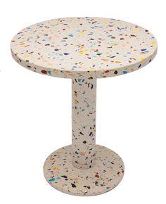 Table 'Kyoto'. End table in metal and terrazzo. Design 1983 by Shiro Kuramata for  Memphis, Milano.  Size: Ø 60, H. 70 cm.