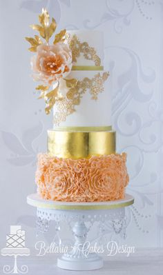 White Chandelier Cake by Opulent Treasures / Cake Design by Bellaria / Satin Ice: A gallery of fondant and gum paste wedding cakes from cake decorators around the world inspired by the color orange. Glamorous Wedding Cakes, Round Wedding Cakes, Amazing Wedding Cakes, Amazing Cakes, Gorgeous Cakes, Pretty Cakes, Chandelier Cake, White Chandelier, Metallic Cake