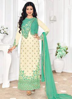 Congenial Cream Georgette Long Salwar Suit - Luxefashion Internet Inc