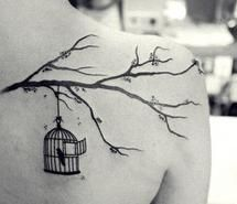 Inspiring picture bird, cage, tattoo, tree branch. Resolution: 500x333 px. Find the picture to your taste!