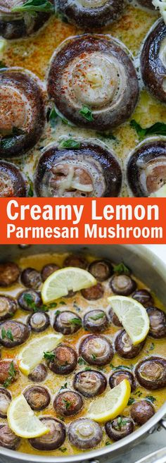 Creamy Lemon Parmesan Mushrooms - BEST mushrooms you'll ever made. Soaked in a creamy, cheesy and lemony Parmesan sauce. Perfect recipe that takes 15 mins. Vegetable Recipes, Vegetarian Recipes, Healthy Recipes, Delicious Recipes, New Recipes, Cooking Recipes, Favorite Recipes, Copycat Recipes, Recipies