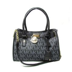 Michael Kors Hamilton Logo Perforated Small Black Totes Outlet