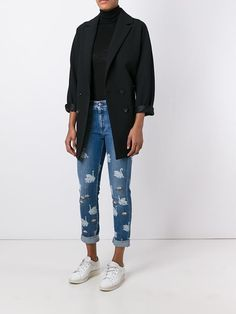 Stella McCartney 'Skinny Boyfriend' swan print jeans