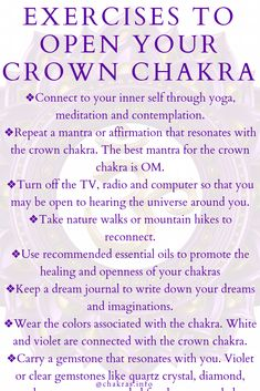 Opening Your Crown Chakra The crown chakra or Sahasara is located on the top of the head. It governs inner communication with our Chakra Heilung, Chakra Crystals, Crown Chakra, Throat Chakra, Heart Chakra, Self Treatment, Qi Gong, How To Open Chakras, Crystals