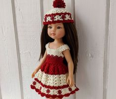 "Clothes for dolls Paola Reina doll 12""/32 cm crochet dress hat for doll clothing Barbie Clothes, Barbie Dolls, Crochet Cardigan, Crochet Hats, Doll Shop, Dress With Cardigan, Dress Hats, Handmade Dresses, Red Flowers"