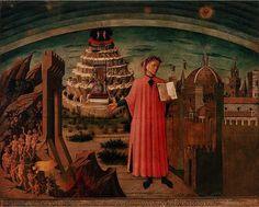 Dante : La Divine Comédie Oeuvre de Domenico di Michelino, cathédrale de Florence   Le poèteprésente son ouvrage ouvert et se tient devant le paysage symbolique de la divine comédie. A gauche, il y al'Enfer, au fond,le Paradisà droite, la ville de Florence