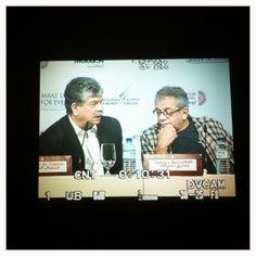 #ADFF12 @SilviaRazgova  Intishal al Tamimi and Yousry Nassrallah during #Arab #Filmmaker Panel #AbuDhabi #UAE