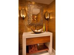 Washroom - Moraya Bay | Vanderbilt Beach | Naples, Florida - exotic vessel sink - unusual wall sconces