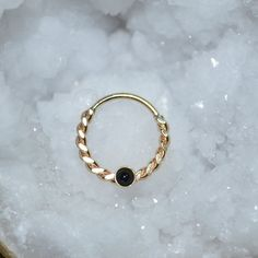 Gold Septum Ring 14g - 2mm Onyx Nose Hoop - Tragus Earring Hoop - Cartilage Hoop Earring - Nose Ring - Nipple Ring - Rook Jewelry